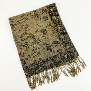 SCARF SHAWL PAISLEY PRINT WITH FRINGE GOLD & BROWN